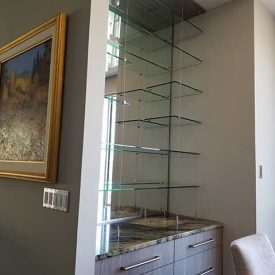 Glass shelving custom installation