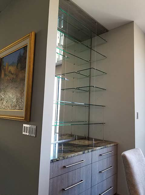 Glass shelving custom installation