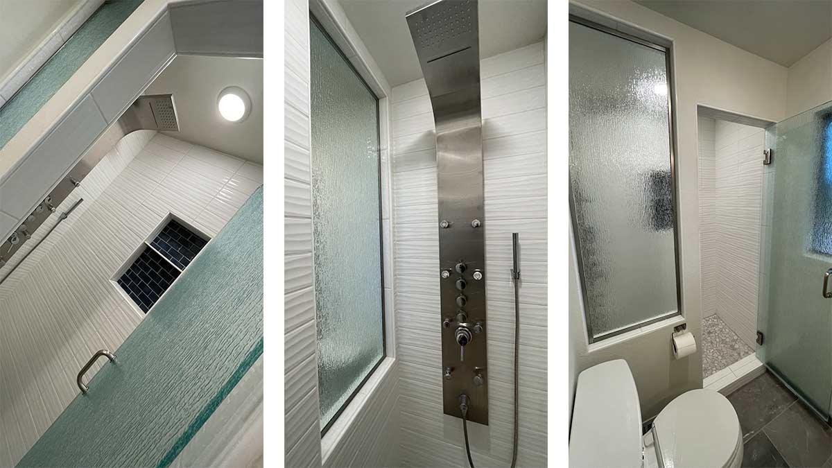 Complete glass bathroom remodel